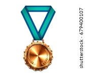 bronze medal with blue ribbon.... | Shutterstock .eps vector #679400107
