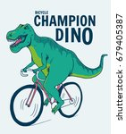 dinosaur  on bicycle... | Shutterstock .eps vector #679405387