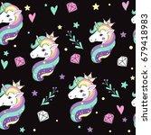 beautiful unicorns and diamonds ... | Shutterstock .eps vector #679418983