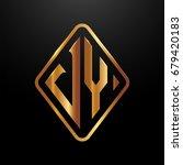 golden monogram logo curved... | Shutterstock .eps vector #679420183