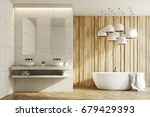 White And Wooden Bathroom...