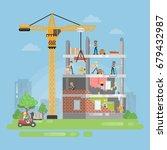 constructing new building.   Shutterstock . vector #679432987