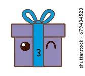 kawaii gift box wrapped ribbon... | Shutterstock .eps vector #679434523