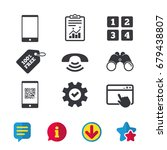 phone icons. smartphone with qr ...