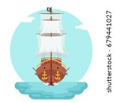 front view wooden pirate... | Shutterstock .eps vector #679441027