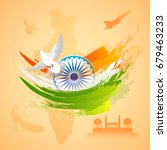 indian flag colors background... | Shutterstock .eps vector #679463233