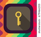 key flat icon with long shadow  ...   Shutterstock .eps vector #679466203