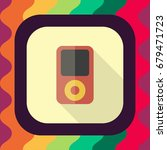 music player flat icon with...