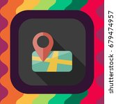 map location pin flat icon with ... | Shutterstock .eps vector #679474957