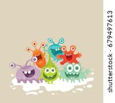 bacteria web banner. group of... | Shutterstock . vector #679497613