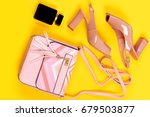 purse and shoes in light pink... | Shutterstock . vector #679503877