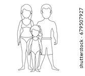 isolated cute beach family | Shutterstock .eps vector #679507927