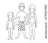 isolated cute beach family   Shutterstock .eps vector #679507987
