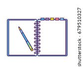 flat line design notepad and... | Shutterstock .eps vector #679510327