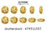 Bitcoin 3d Gold Coins Vector...