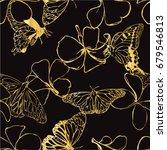 plumeria and golden butterfly... | Shutterstock .eps vector #679546813