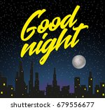 night city with starry sky ... | Shutterstock .eps vector #679556677