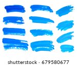 blue watercolor brush strokes.... | Shutterstock .eps vector #679580677