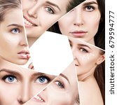 woman faces with plastic arrows ... | Shutterstock . vector #679594777