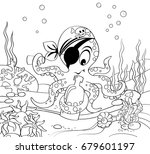 cartoon pirate octopus with... | Shutterstock .eps vector #679601197