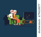 senior age couple watching tv.... | Shutterstock .eps vector #679610077