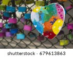 Love Heart And Love Padlocks O...