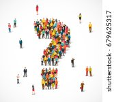 large group of people lined up... | Shutterstock . vector #679625317