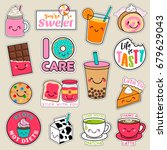 Stock vector set of fashion patches cute colorful badges fun cartoon icons design vector in dessert concept 679629043