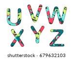 set of letters font u  v  w  x  ... | Shutterstock .eps vector #679632103