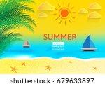 beautiful summer holidays... | Shutterstock .eps vector #679633897