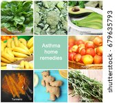 Small photo of Text ASTHMA HOME REMEDIES and collage of healthy products