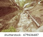 deep entrance path in sandstone ... | Shutterstock . vector #679636687