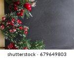 christmas card. fir branches... | Shutterstock . vector #679649803