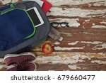 bagpack  water bottle  apple ... | Shutterstock . vector #679660477