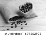 black and white coffee bean in... | Shutterstock . vector #679662973