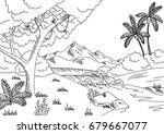 jungle river graphic black... | Shutterstock .eps vector #679667077