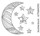 zentangle moon and star with... | Shutterstock .eps vector #679684393