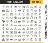 travel and vacation icon set.... | Shutterstock .eps vector #679703203
