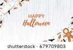 halloween web banner with... | Shutterstock .eps vector #679709803