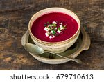 beetroot soup garnished with... | Shutterstock . vector #679710613