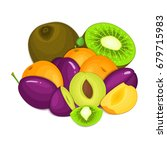 composition of juicy apricot... | Shutterstock . vector #679715983