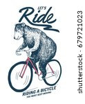 bear on bicycle illustration... | Shutterstock .eps vector #679721023