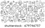doodle set of swimming goods... | Shutterstock .eps vector #679746757