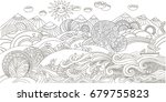 cute cartoon meadow with... | Shutterstock .eps vector #679755823