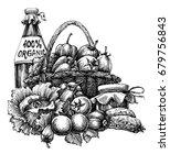organic food design  basket... | Shutterstock .eps vector #679756843