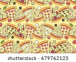 delicious pizza pattern with... | Shutterstock .eps vector #679762123