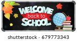 blackboard with greeting  first ...   Shutterstock .eps vector #679773343