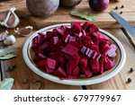 sliced red beets on a plate ...