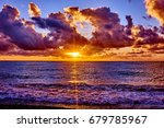 sunset on the beach with... | Shutterstock . vector #679785967
