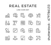 set line icons of real estate... | Shutterstock . vector #679786153